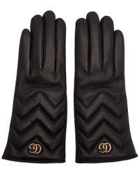 Gucci - Black Gg Marmont Chevron Gloves - Lyst
