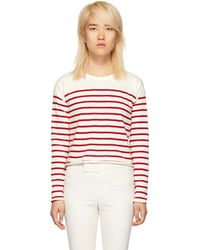 Rag & Bone - White And Red Striped Halsey Long Sleeve T-shirt - Lyst