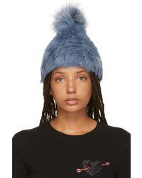 Yves Salomon - Blue Knitted Rabbit Pom Pom Beanie - Lyst