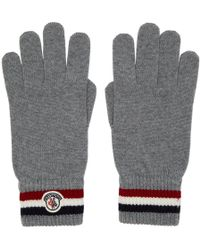 Moncler - Navy Wool Corporate Gloves - Lyst