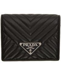 Prada - Black Quilted Bifold Wallet - Lyst