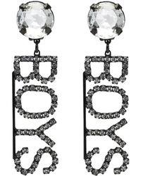 Ashley Williams - Black Crystal Boys Clip-on Earrings - Lyst