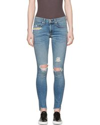 Rag & Bone - Blue Distressed Skinny Jeans - Lyst