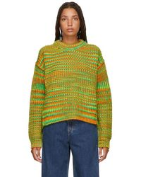 Acne Studios - Orange And Green Ribbed Sweater - Lyst