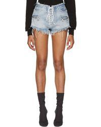 Unravel - Blue Denim Lace-up Shorts - Lyst