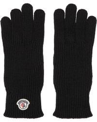 Moncler - Gants à logo en laine noirs - Lyst