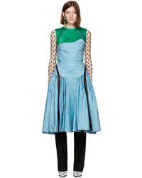 Marine Serre - Blue Pleated Moiré Dress - Lyst