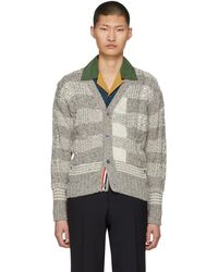 Thom Browne - Grey Plaid Classic V-neck Cardigan - Lyst