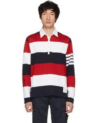 Thom Browne - Polo rouge et blanc Four Bars Relaxed - Lyst