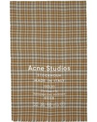 Acne Studios - Beige And Brown Cassiar Check Scarf - Lyst