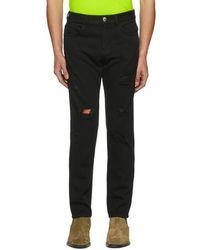Versus - Black Distressed Jeans - Lyst