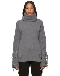 McQ - Grey Lace-up Turtleneck - Lyst