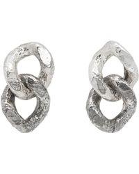 Pearls Before Swine - Silver Double Sliced Link Earrings - Lyst