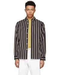 Saturdays NYC - Navy Crosby Satin Stripe Button-down Shirt - Lyst