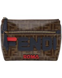 Fendi - Pochette brune Medium Pyramid Mania - Lyst
