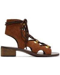 See By Chloé - Orange Suede Gladiator Tie Sandals - Lyst