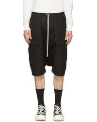 Rick Owens - Black Drawstring Pods Cargo Shorts - Lyst