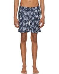 Onia - Navy And White Calder Swim Shorts - Lyst