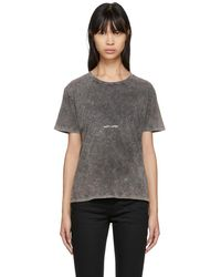 Saint Laurent - Grey Destroyed Vintage Rive Gauche Volume T-shirt - Lyst