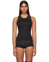 Fendi - Black Neoprene Logo Tank Top - Lyst