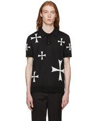 Neil Barrett - Black And White Knit Crosses Polo - Lyst