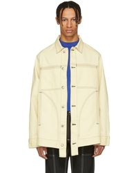 Eckhaus Latta - Off-white Contrast Stitch Denim Jacket - Lyst