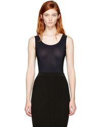 Maison Margiela - Black Sleeveless Scoop Neck Bodysuit - Lyst