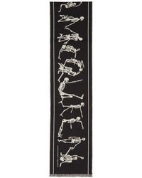 Alexander McQueen - Black And Off-white Dancing Skeleton Scarf - Lyst