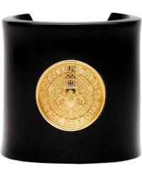 Balmain Bracelet manchette noir et dore Coin
