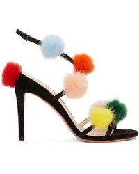 Fendi - Black Fur Pom Pom Sandals - Lyst