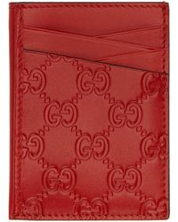 Gucci - Red Signature Card Holder - Lyst