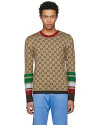 Gucci | Tan Gg Jacquard Crewneck Pullover | Lyst