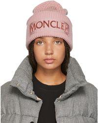 Moncler - Pink Logo Beanie - Lyst