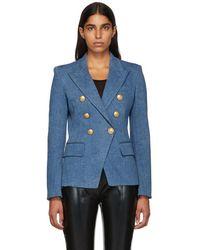 Balmain - Blue Denim Six-button Blazer - Lyst
