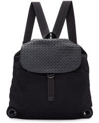 Bottega Veneta - Black Intrecciato Leather And Canvas Backpack - Lyst