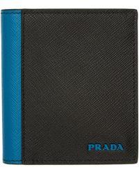 Prada - Black And Blue Saffiano Active Wallet - Lyst