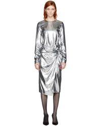 Saint Laurent - Silver Metallic Velvet Dress - Lyst