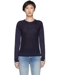 Carven - Navy Ruched Sleeves Pullover - Lyst