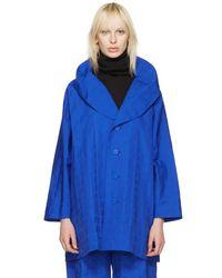 Issey Miyake - Blue Crumpled Grid Coat - Lyst