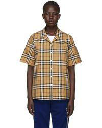 Burberry - Beige Check Short Sleeve Shirt - Lyst