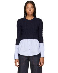 KENZO - Navy And Blue Mix Jumper - Lyst