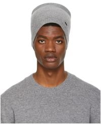 HUGO - Grey Logo Plaque Beanie - Lyst