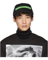 DSquared² - Black And Green Logo Baseball Cap - Lyst