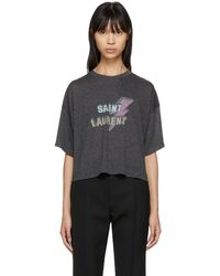Saint Laurent - Black Cropped Lightning Bolt T-shirt - Lyst