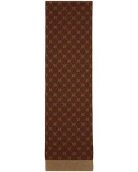 Gucci - Brown And Orange Alpaca Gg Supreme Scarf - Lyst
