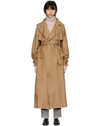 Bottega Veneta - Tan Silk Satin Trench Coat - Lyst