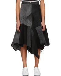 Junya Watanabe | Black Patchwork Denim Skirt | Lyst