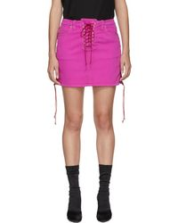 Unravel - Pink Over-dyed Side Lace-up Denim Miniskirt - Lyst