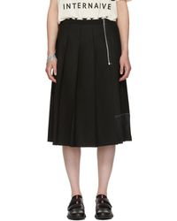 Marc Jacobs - Black Pleated Wool Skirt - Lyst