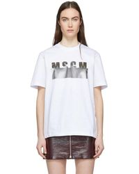 MSGM - White Degrade Logo T-shirt - Lyst